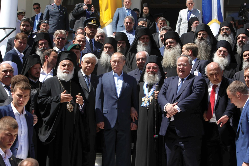 The Russian Head of State visits Greece's Holy Orthodox Mount Athos to join in celebrations commemorating 1,000 years of Russian Monks' presence there. V.Ververidis.