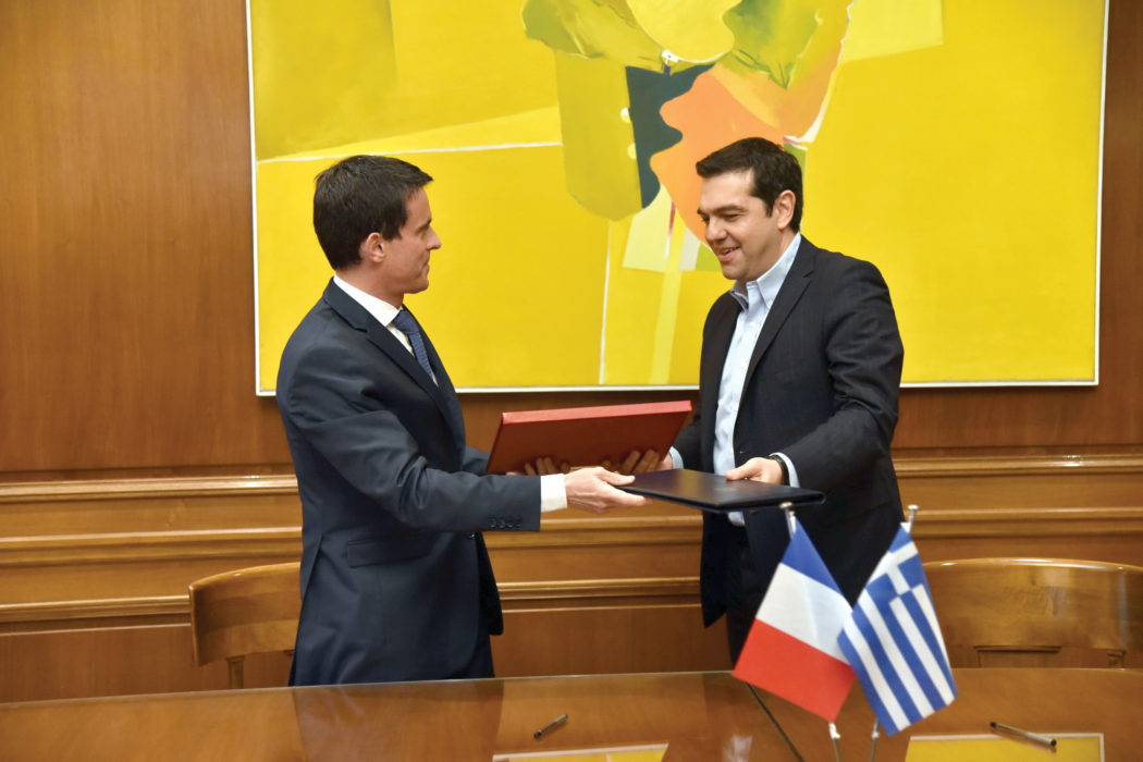 The two Premiers sign a road map for the strategic relation between Greece and France. D Paterakis