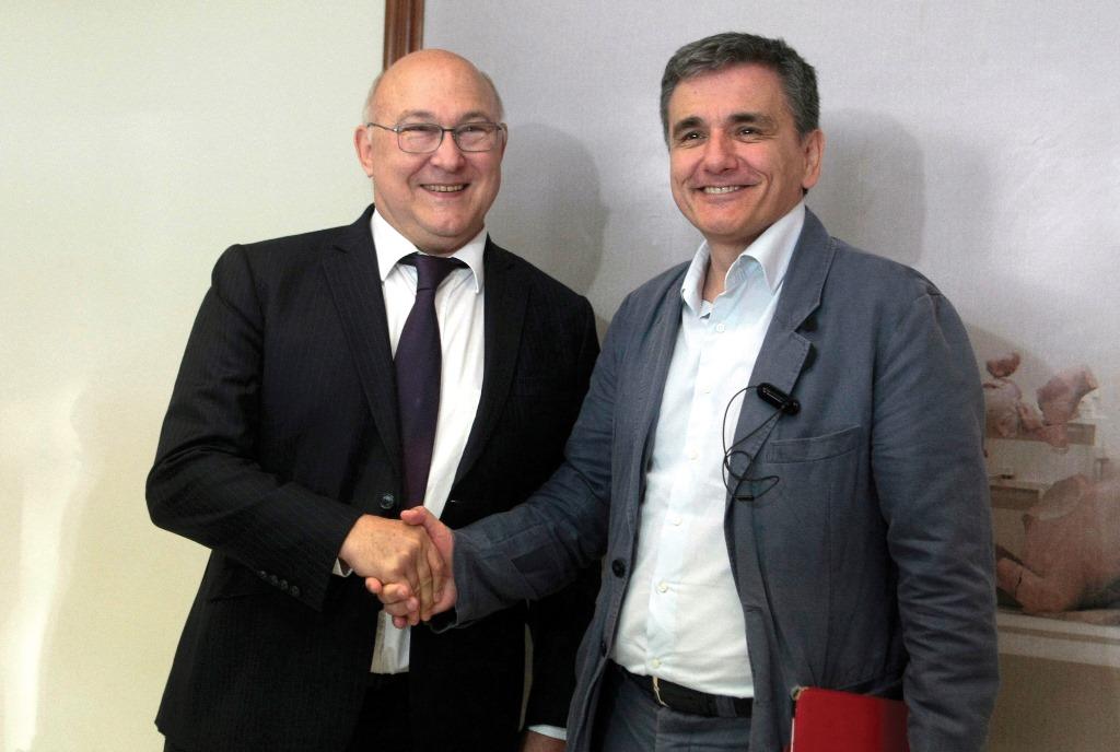 Συνάντηση του υπουργού Οικονομικών Ευκλείδη Τσακαλώτου με το Γάλλο ομόλογό του, Μισέλ Σαπέν, στο Υπουργείο Οικονομικών, την Παρασκευή 3 Ιουνίου 2016. (EUROKINISSI/ΣΤΕΛΙΟΣ ΣΤΕΦΑΝΟΥ)