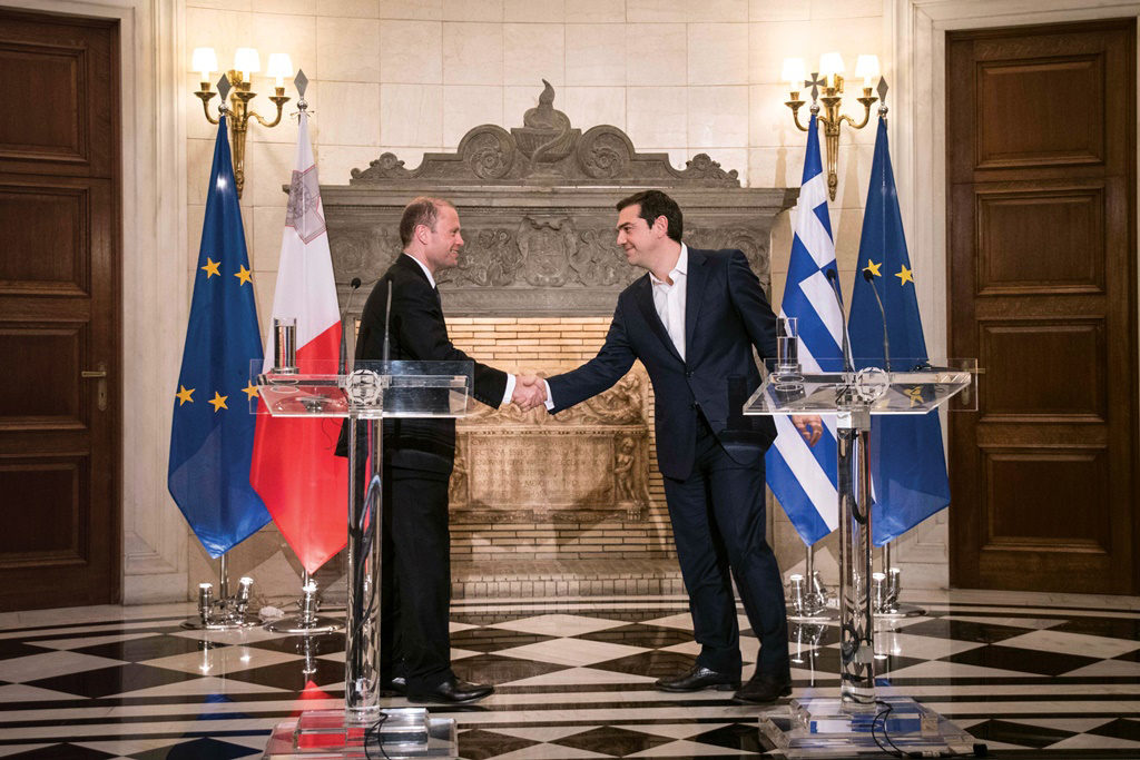 """""""In Greece I found someone who fully shares my view,"""" says Maltese PM"""