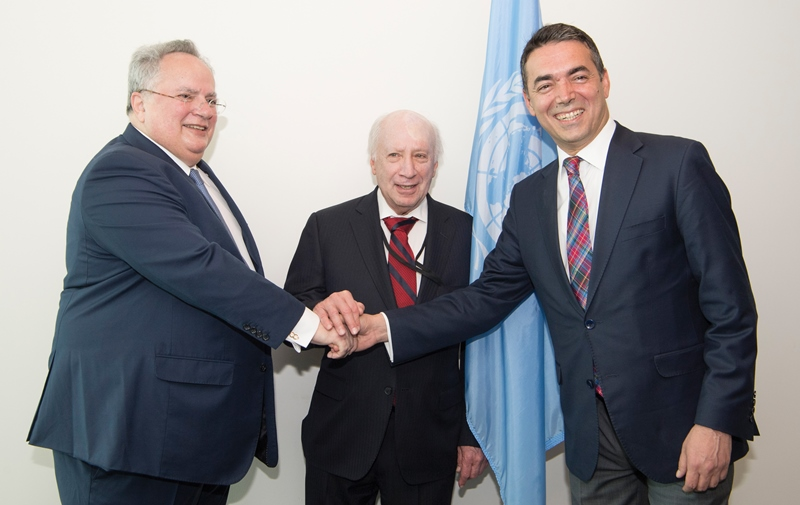 UN Special Envoy Matthew Nimetz and Former Yugoslav Republic of Macedonia counterpart Nikola Dimitro