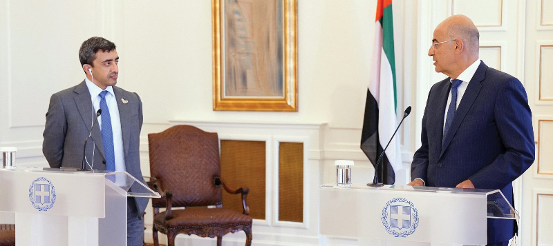 Foreign Minister of the UAE in Athens for talks with Greek leadership